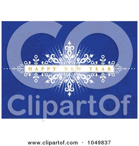 Royalty-Free (RF) Clip Art Illustration of a Happy New Year Burst Over A Blue Snowflake Pattern by BestVector