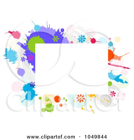 Royalty-Free (RF) Clip Art Illustration of a Grungy Rectangular Frame With Splatters And Flowers by BNP Design Studio