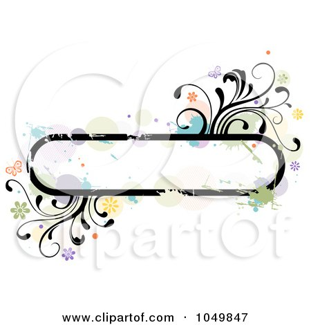Royalty-Free (RF) Clip Art Illustration of a Grungy Rounded Long Frame With Splatters, Vines And Butterflies by BNP Design Studio