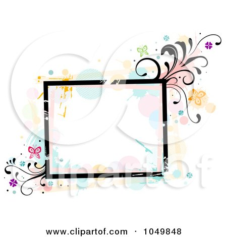 Royalty-Free (RF) Clip Art Illustration of a Grungy Square Frame With Splatters, Vines And Butterflies by BNP Design Studio