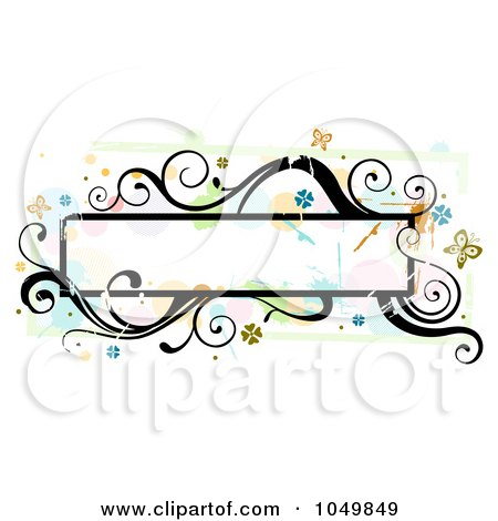 Royalty-Free (RF) Clip Art Illustration of a Grungy Long Frame With Splatters, Vines And Butterflies by BNP Design Studio