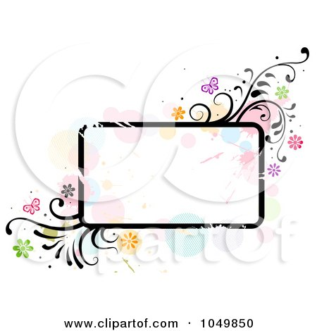 Royalty-Free (RF) Clip Art Illustration of a Grungy Rounded Rectangular Frame With Splatters, Vines And Butterflies by BNP Design Studio