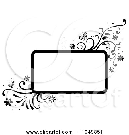 Royalty-Free (RF) Clip Art Illustration of a Black And White Rectangular Frame With Vines And Butterflies by BNP Design Studio