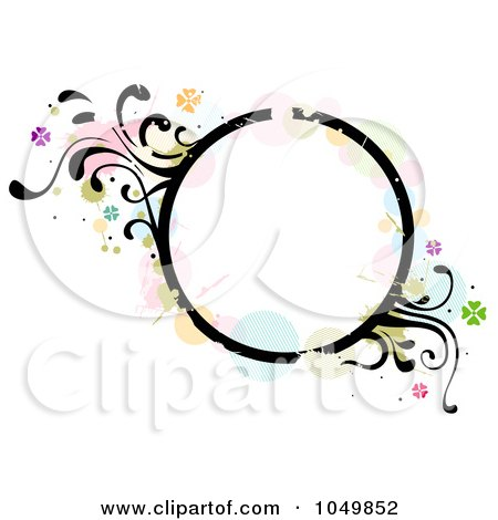 Royalty-Free (RF) Clip Art Illustration of a Grungy Circle Frame With Splatters, Vines And Butterflies by BNP Design Studio