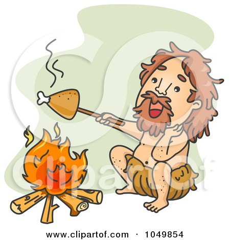 Royalty-Free (RF) Clip Art Illustration of a Caveman Roasting Chicken Over A Fire by BNP Design Studio