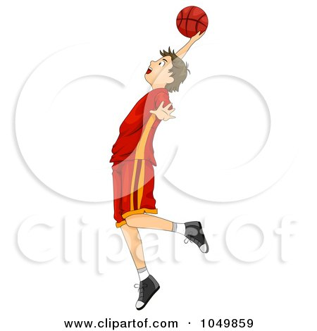 Royalty-Free (RF) Clip Art Illustration of a Teenage Boy Playing Basketball by BNP Design Studio