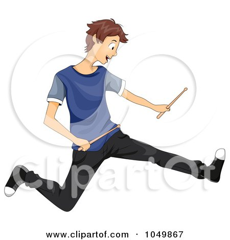 Royalty-Free (RF) Clip Art Illustration of a Teen Boy Jumping With Drum Sticks by BNP Design Studio