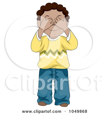 Royalty-Free (RF) Clip Art Illustration of a Black Boy Covering His Eyes by BNP Design Studio