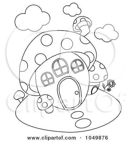 Royalty-Free (RF) Clip Art Illustration of a Coloring Page Outline Of A Mushroom House by BNP Design Studio