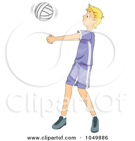 Royalty-Free (RF) Clip Art Illustration of a Teen Boy Playing Volleyball by BNP Design Studio