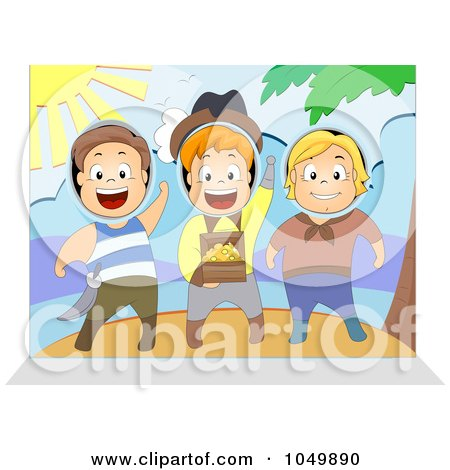 Royalty-Free (RF) Clip Art Illustration of Children Sticking Their Heads In A Pirate Scene by BNP Design Studio