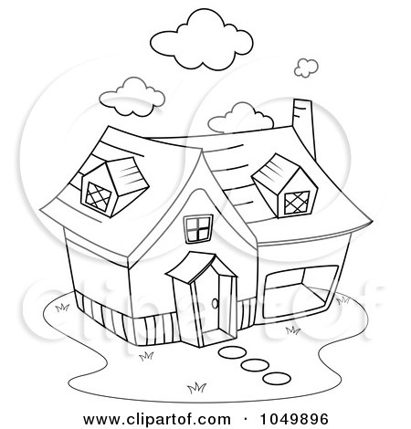 Royalty-Free (RF) Clip Art Illustration of a Coloring Page Outline Of A Home by BNP Design Studio