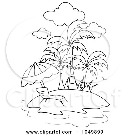 Coloring Page Outline Of A Lounge Chair On A Tropical