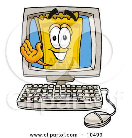 Clipart Picture of a Yellow Admission Ticket Mascot Cartoon Character Waving From Inside a Computer Screen by Toons4Biz