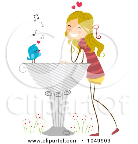 Royalty-Free (RF) Clip Art Illustration of a Bird Delivering A Love Letter To A Stick Girl by BNP Design Studio