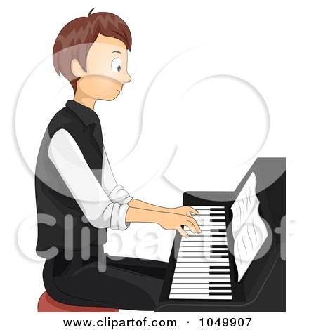 Royalty-Free (RF) Clip Art Illustration of a Teen Boy Playing A Piano by BNP Design Studio