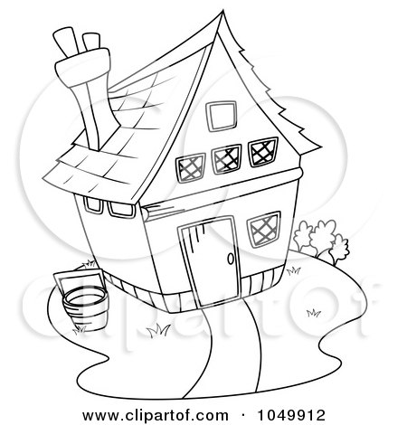 Royalty-Free (RF) Clip Art Illustration of a Coloring Page Outline Of A Barn House by BNP Design Studio