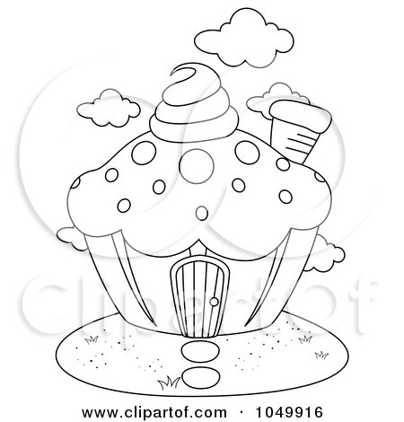 Candy House Drawing Outline of a Cupcake House