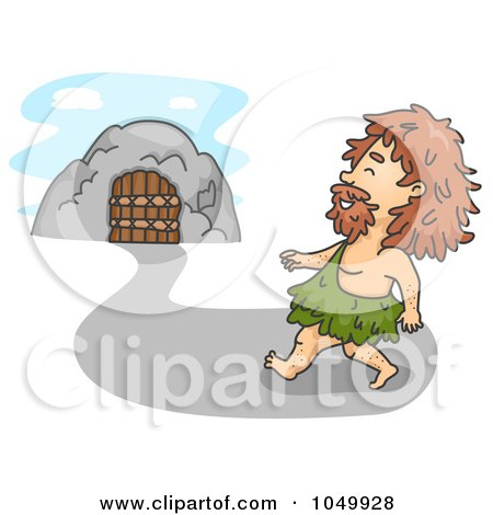 Royalty-Free (RF) Clip Art Illustration of a Caveman Walking Home by BNP Design Studio