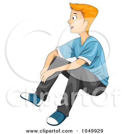 Royalty-Free (RF) Clip Art Illustration of a Teen Boy Sitting by BNP Design Studio
