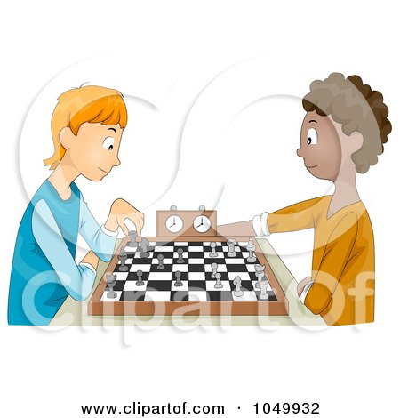 Royalty-Free (RF) Clip Art Illustration of Teen Boys Playing Chess by BNP Design Studio