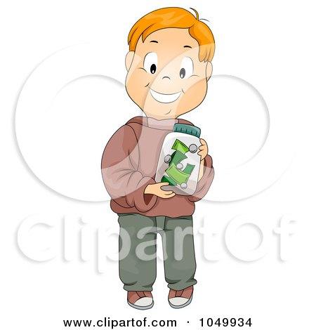 Royalty-Free (RF) Clip Art Illustration of a Happy Boy Holding A Money Jar by BNP Design Studio
