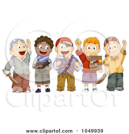 Royalty-Free (RF) Clip Art Illustration of a Group Of Kids In Pirate Costumes by BNP Design Studio