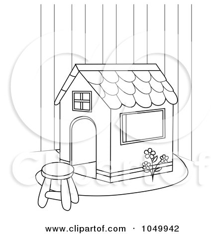 Royalty-Free (RF) Clip Art Illustration of a Coloring Page Outline Of A Play House by BNP Design Studio