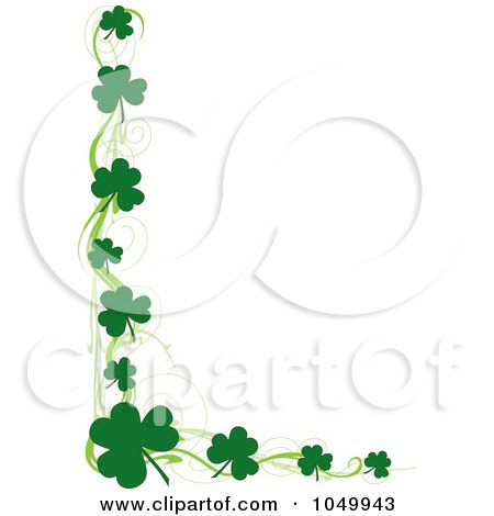 Royalty-Free (RF) Clip Art Illustration of a St Patricks Day Border Of Green Swirls And Shamrocks by Maria Bell