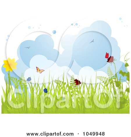 Royalty-Free (RF) Clip Art Illustration of a Spring Background Of Grass, Butterflies And Flowers Against Clouds by elaineitalia