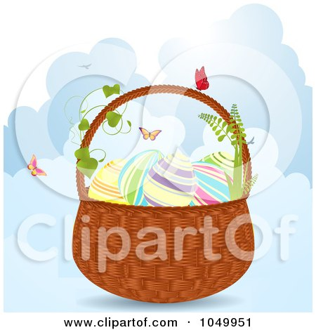 Royalty-Free (RF) Clip Art Illustration of an Easter Basket With Eggs And Butterflies Over Clouds by elaineitalia