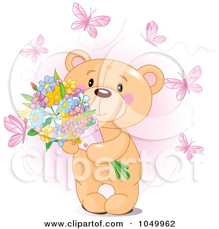 Royalty-Free (RF) Clip Art Illustration of a Sweet Teddy Bear Holding Flowers And Surrounded By Pink Butterflies by Pushkin