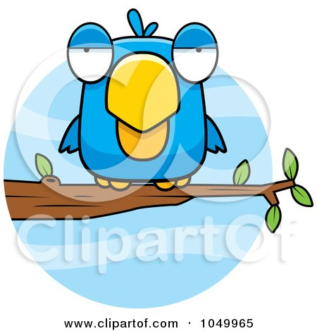 Royalty-Free (RF) Clip Art Illustration of a Perched Blue Bird by Cory Thoman