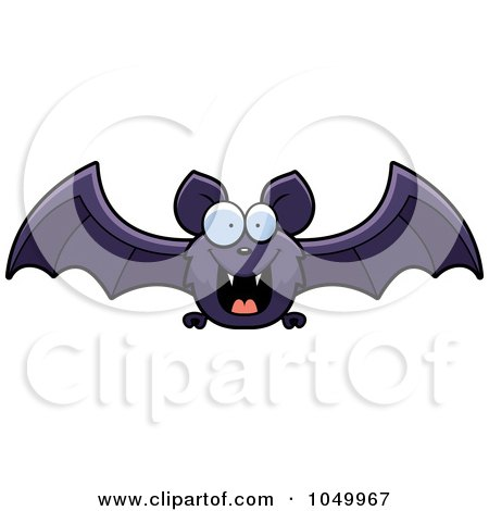 Royalty-Free (RF) Clip Art Illustration of a Purple Bat Flying by Cory Thoman