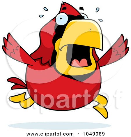 Royalty-Free (RF) Clip Art Illustration of a Red Cardinal Panicking by Cory Thoman