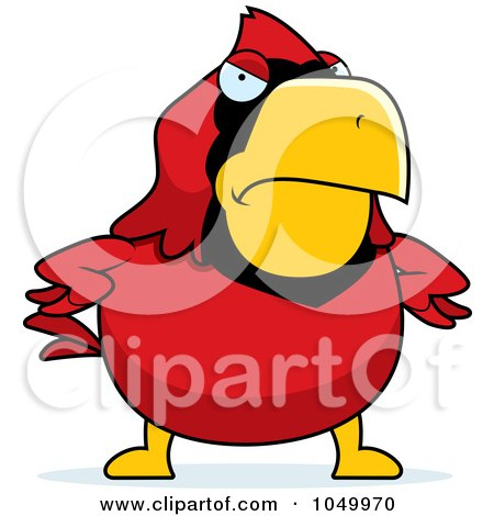 Royalty-Free (RF) Clip Art Illustration of a Mad Red Cardinal by Cory Thoman