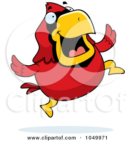 Royalty-Free (RF) Clip Art Illustration of a Red Cardinal Jumping by Cory Thoman