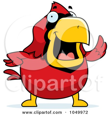 Royalty-Free (RF) Clip Art Illustration of a Red Cardinal Waving by Cory Thoman