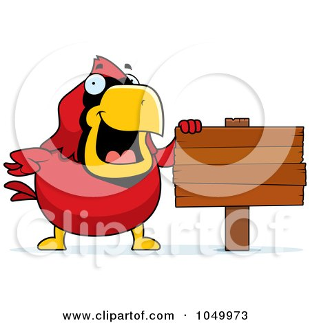 Royalty-Free (RF) Clip Art Illustration of a Red Cardinal With A Blank Sign by Cory Thoman