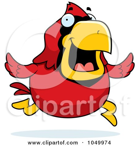 Royalty-Free (RF) Clip Art Illustration of a Red Cardinal Running by Cory Thoman