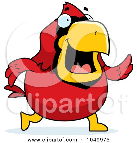 Royalty-Free (RF) Clip Art Illustration of a Red Cardinal Walking by Cory Thoman