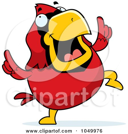 Royalty-Free (RF) Clip Art Illustration of a Red Cardinal Dancing by Cory Thoman