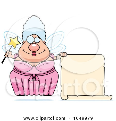Royalty-Free (RF) Clip Art Illustration of a Plump Fairy Godmother With A Blank Scroll by Cory Thoman