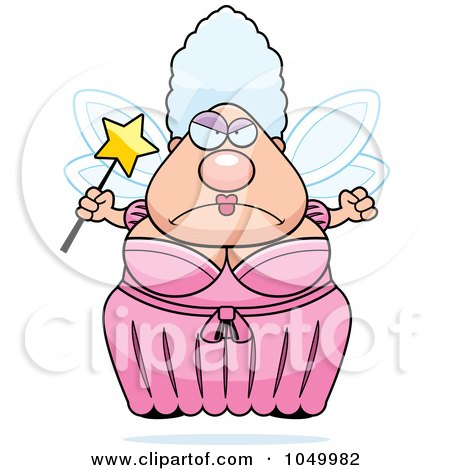 Royalty-Free (RF) Clip Art Illustration of a Mad Plump Fairy Godmother by Cory Thoman