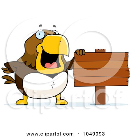 Royalty-Free (RF) Clip Art Illustration of a Hawk With A Blank Sign by Cory Thoman