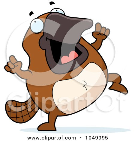 Royalty-Free (RF) Clip Art Illustration of a Platypus Dancing by Cory Thoman