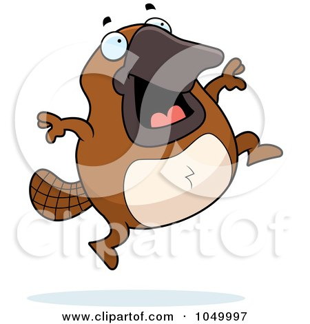 Royalty-Free (RF) Clip Art Illustration of a Platypus Jumping by Cory Thoman
