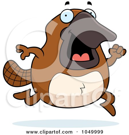 Royalty-Free (RF) Clip Art Illustration of a Platypus Running by Cory Thoman