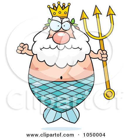 Royalty-Free (RF) Clip Art Illustration of a Mad Plump King Neptune Merman by Cory Thoman