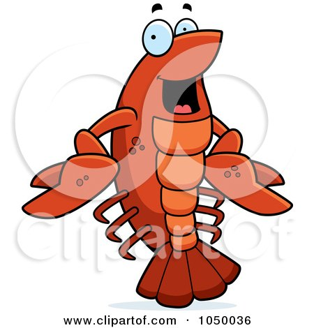 Royalty-Free (RF) Clip Art Illustration of a Happy Crawfish by Cory Thoman